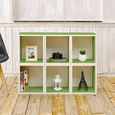 Valencia 6 Cubes zBoard  Stackable Modular Storage Cubby Organizer, Tool-Free Assembly Storage in Green