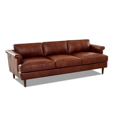 Malcolm 87 in. Chestnut Leather 3-Seater Lawson Sofa with Square Arms