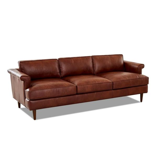 Malcolm Leather Down Blend Sofa in Chestnut