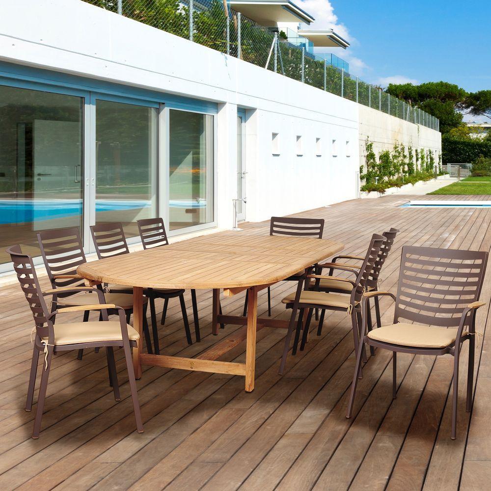 Davie 9-Piece Teak/Cast Aluminum Double Extendable Oval Patio Dining Set with Tan Cushions