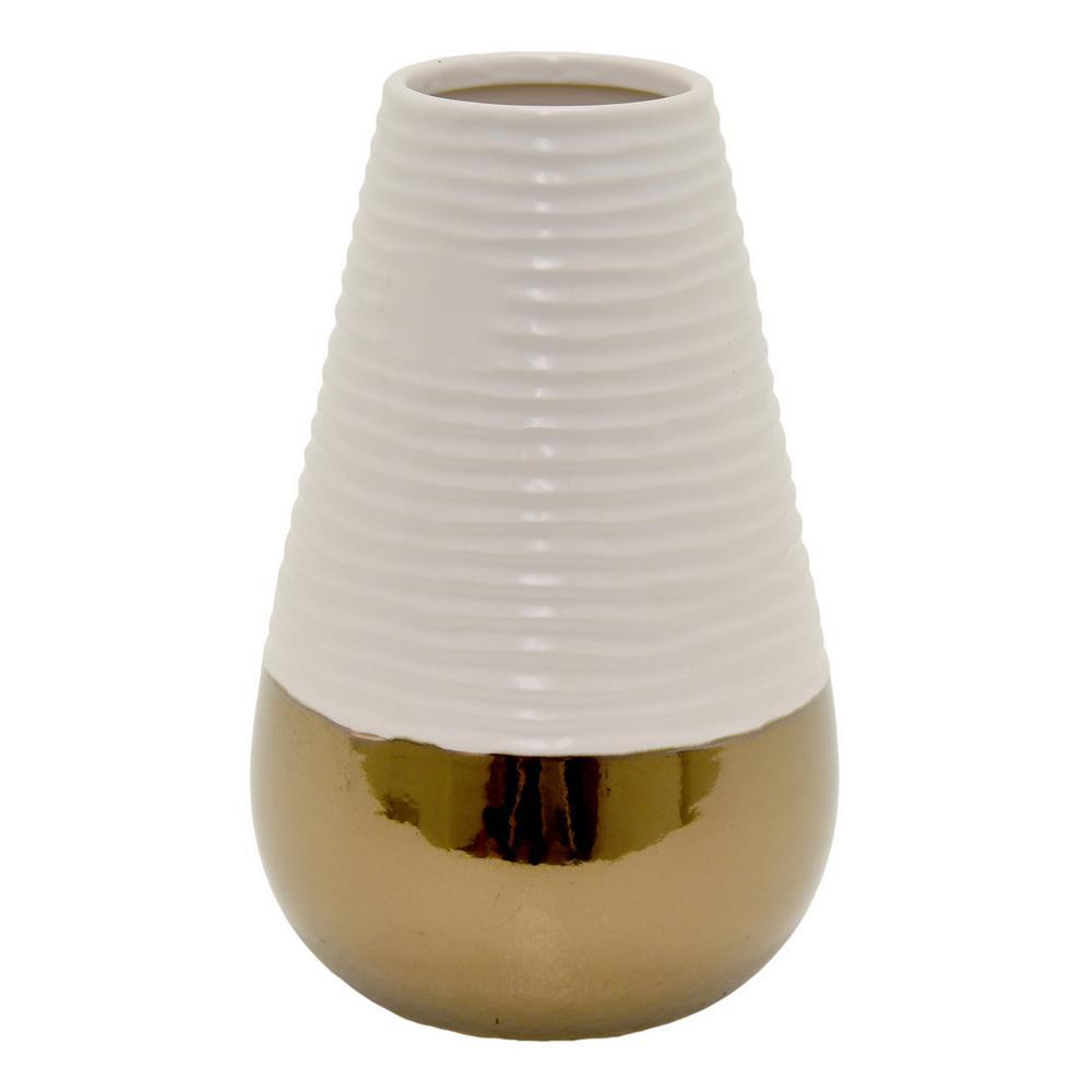 17.75 in. White 2-Tone Ceramic Decorative Vase