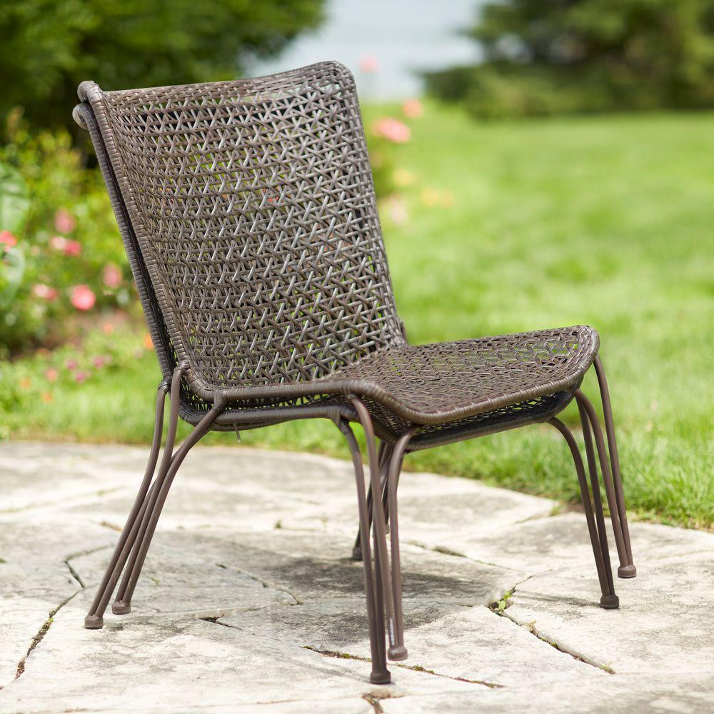 Hampton bay arthur all weather wicker patio stack chair 2 for All weather garden chairs