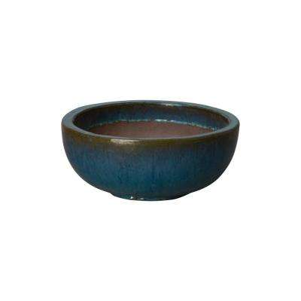 18 in. Dia Shallow Teal Round Ceramic Planter