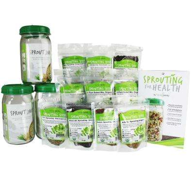 3 Qt. Sprouting Jars 2.5 lbs. Organic Seeds, Alfalfa, Broccoli, Radish, Clover, Lentil 3 Jar Sprouting Starter Kit