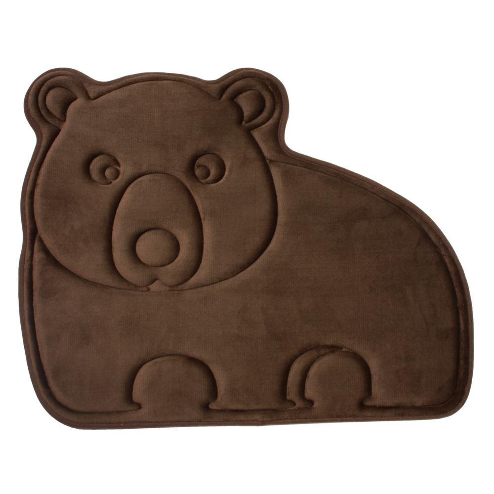 Polyester And Memory Foam Bath Mat In Brown Bear