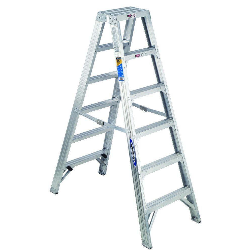 Werner 6 ft. Aluminum Twin Step Ladder with 375 lb. Load Capacity Type IAA Duty Rating