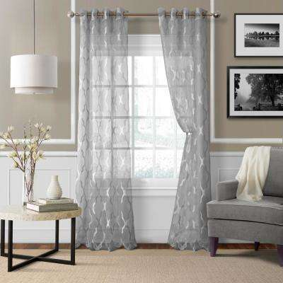Sheer Sonata Sheer Gray Ironwork Window Panel - 52 in. W x 84 in. L
