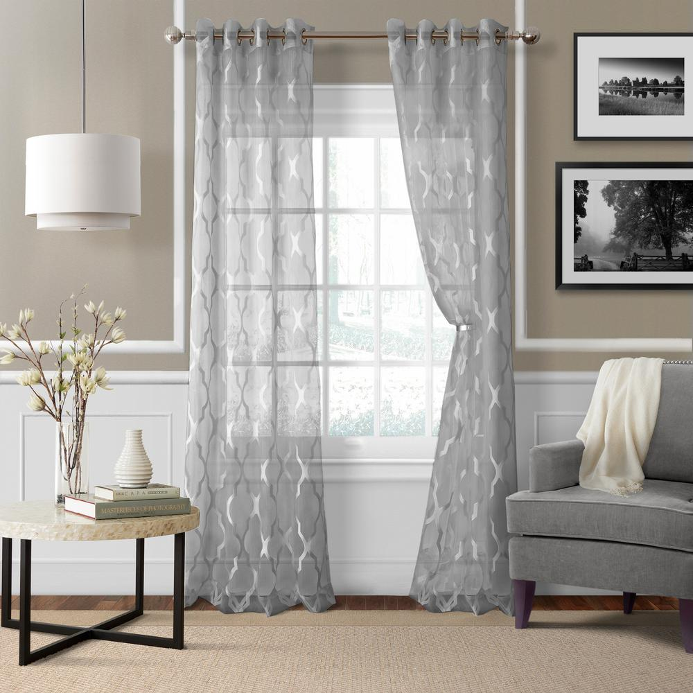 Sheer Sonata Sheer Gray Ironwork Window Panel - 52 in. W