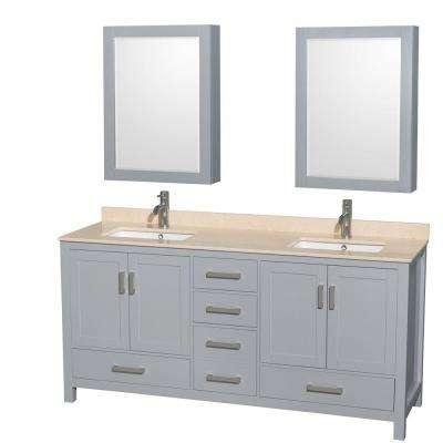 Sheffield 72 in. W x 22 in. D Vanity in Gray with Marble Vanity Top in Ivory with White Basins and Cabinet Mirrors