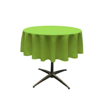 58 in. Round Lime Polyester Poplin Tablecloth