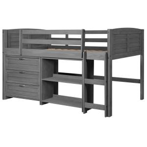 Antique Grey Twin Louver Low Loft Bed with 3-Drawer Chest and Bookshelf