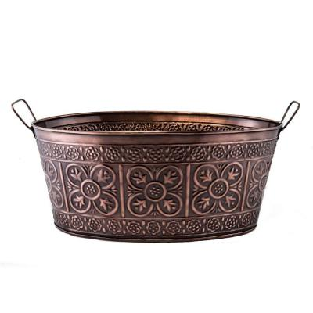 17 in. x 9.5 in. x 7 in., 2.9 Gal. Quatrefoil Oval Party Tub in Antique Copper