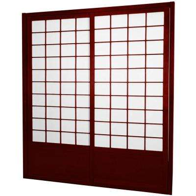 7 ft. Rosewood Shoji 2-Panel Sliding Door