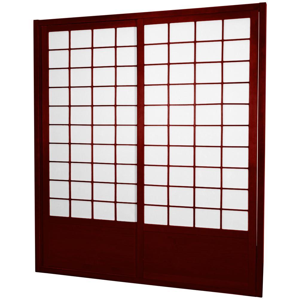 7 ft. Rosewood Shoji 2-Panel Sliding Door