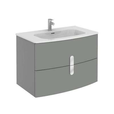 Cali 31.20 in. W x 18.80 in. D x 21.20 in. H Vanity in Gray with Porcelain Top in White with White Basin
