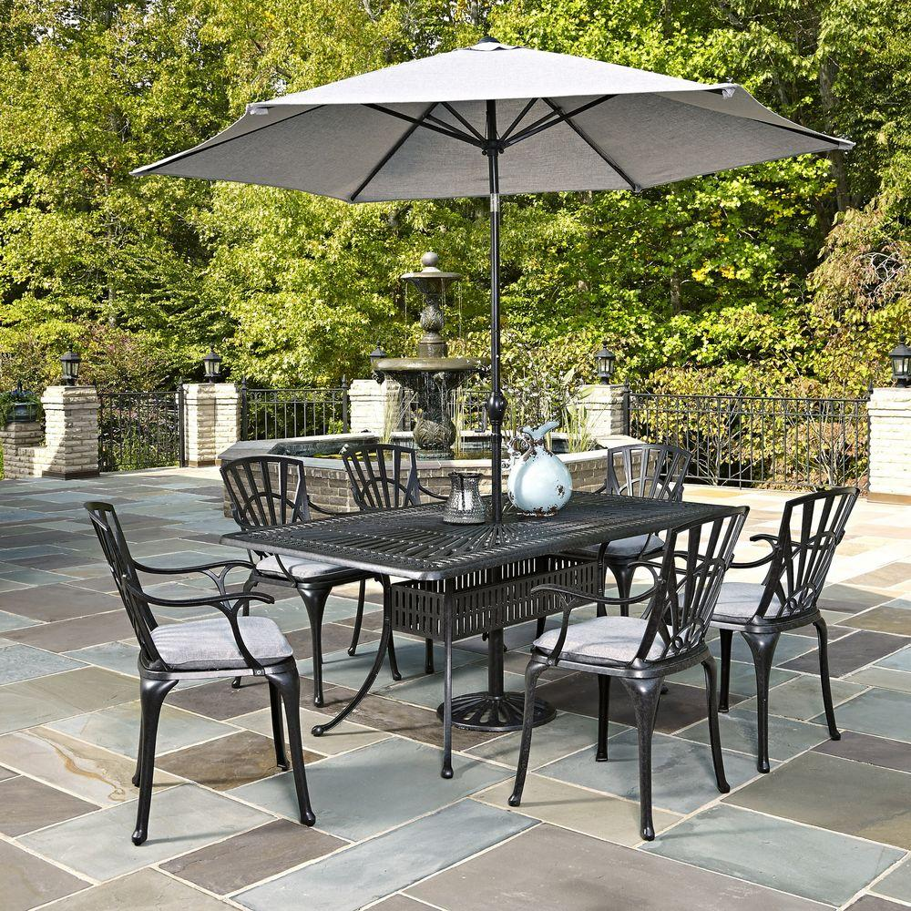 home styles largo 7 piece outdoor patio dining set with umbrella and gray cushions 5560 3786c. Black Bedroom Furniture Sets. Home Design Ideas