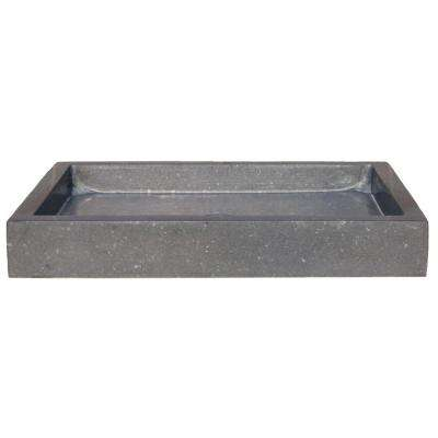 Rectangular Vessel Sink in Honed Black Basalt