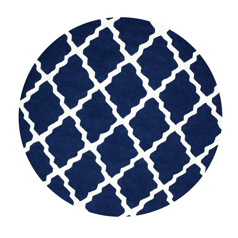 Nuloom Trellis Navy Blue 6 Ft X 6 Ft Round Area Rug
