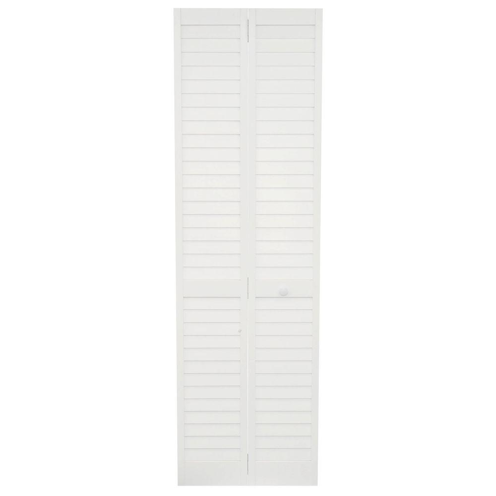 Kimberly Bay 24 in. x 80 in. 24 in. Plantation Louvered Solid Core Painted White Wood Interior Closet Bi-Fold Door