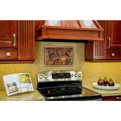 Italian Still Life 20 in. W x 12.75 in. H Stonecast Decorative Tile Backsplash in Copper