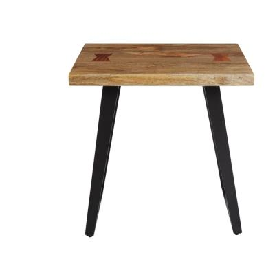 Cosbyrne Rectangular Dark Natural Finish Wood End Table with Metal Base (22 in. W x 22.5 in. H)