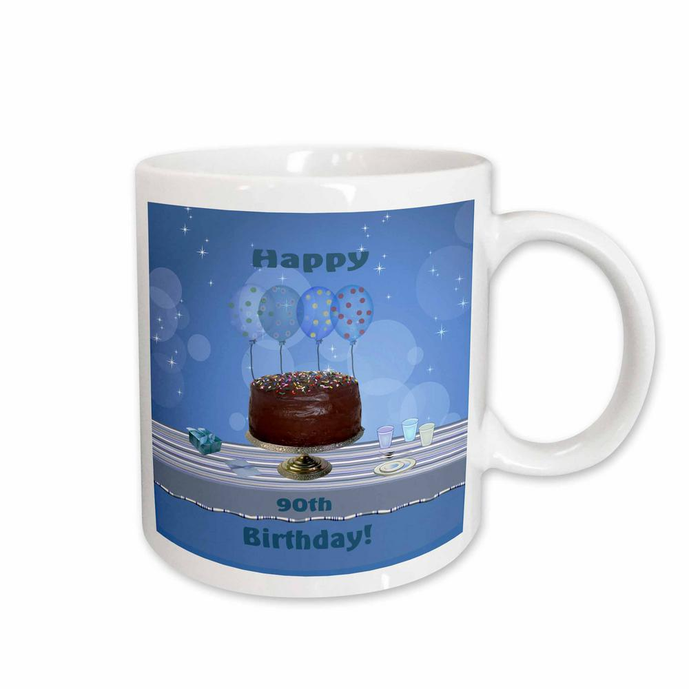 3dRose Beverly Turner Birthday Design 90th Party With Chocolate Cake And Blue Balloons 11 Oz White Ceramic Coffee Mug 123976 1