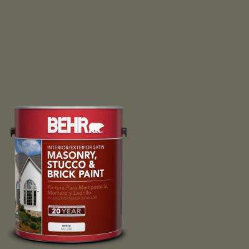 1 gal. #N370-6 Gladiator Gray Satin Interior/Exterior Masonry, Stucco and Brick Paint