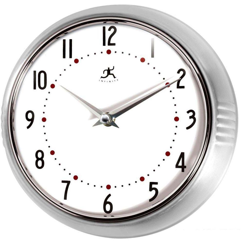 Home Decorators Collection 9.5 in. Retro Silver Wall Clock