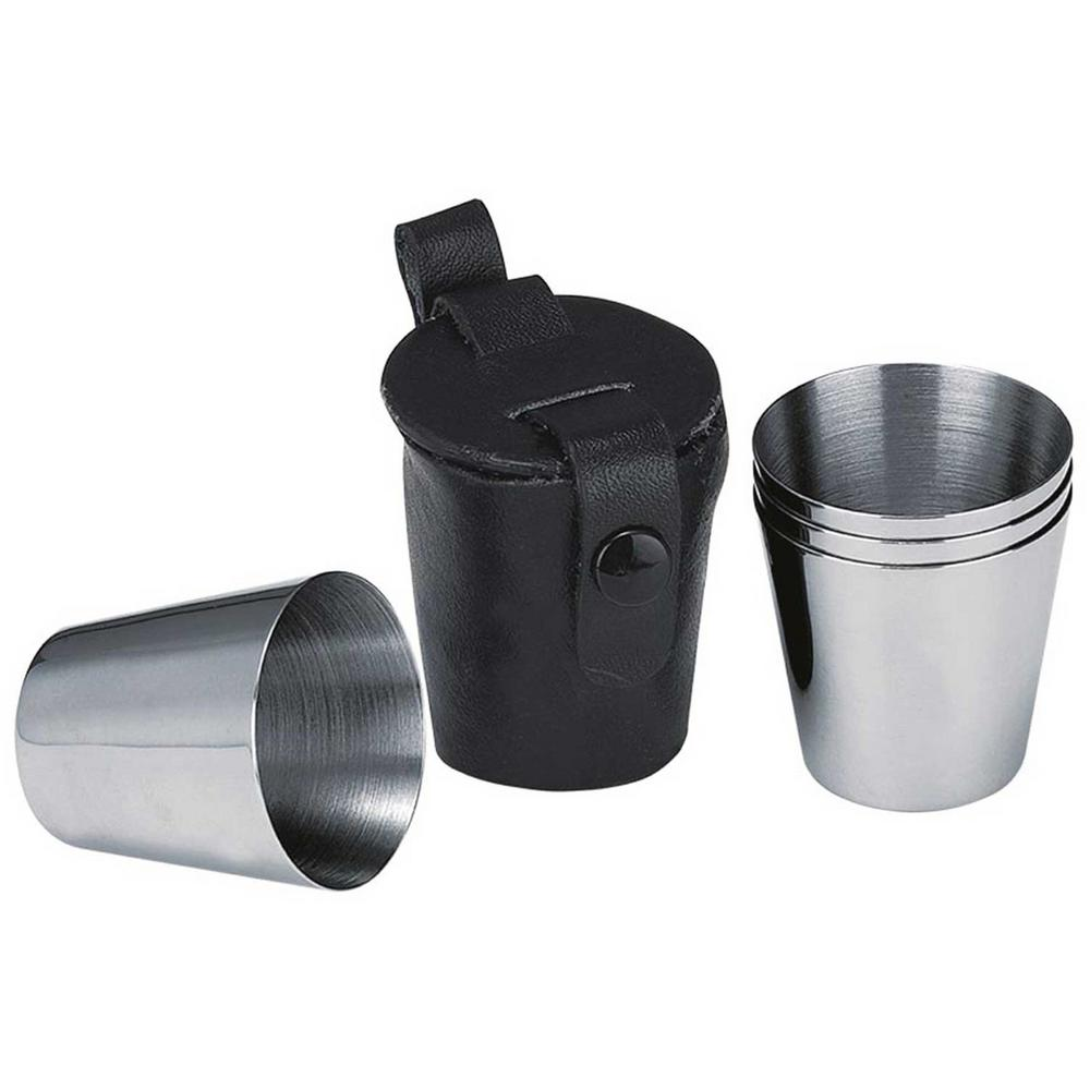 Group Stainless Steel Shot Cups with Leather Carrying Case (2-Pack)