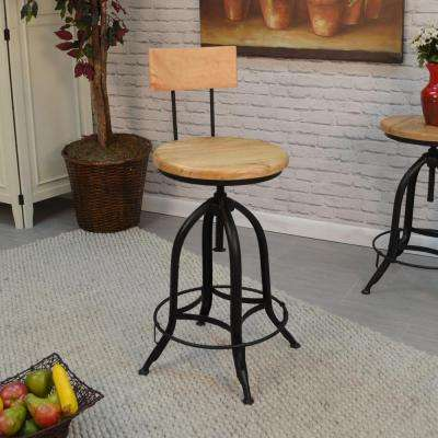 Ryder Adjustable Height Chestnut and Black Bar Stool