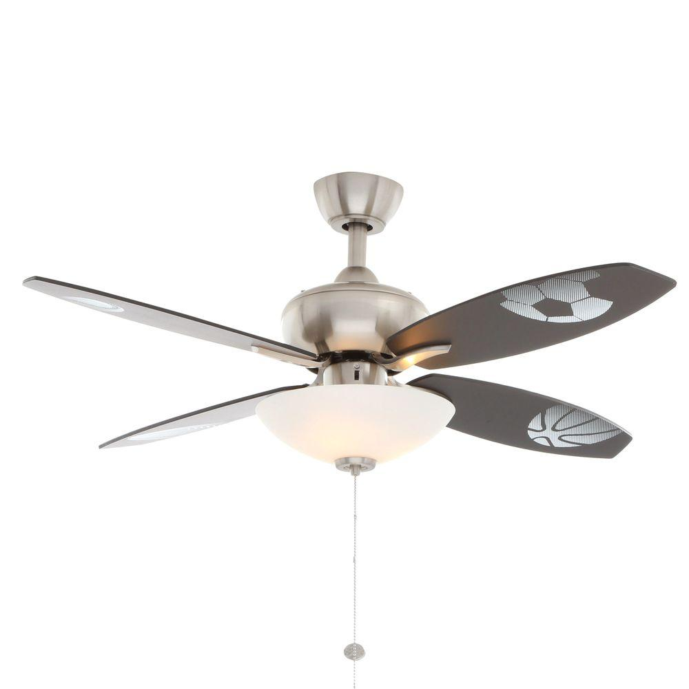 Hampton Bay Everstar 44 in. Indoor Brushed Nickel Ceiling Fan with ...