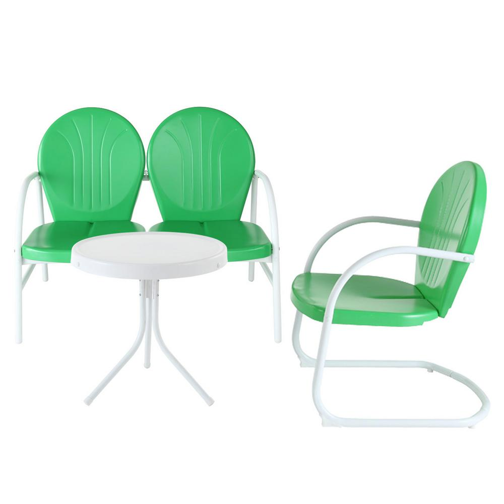 Crosley Griffith Green 3-Piece Metal Outdoor Patio Conversation Seating Set