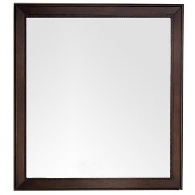 Bristol 44 in. W x 40 in. H Single Framed Wall Mirror in Burnished Mahogany