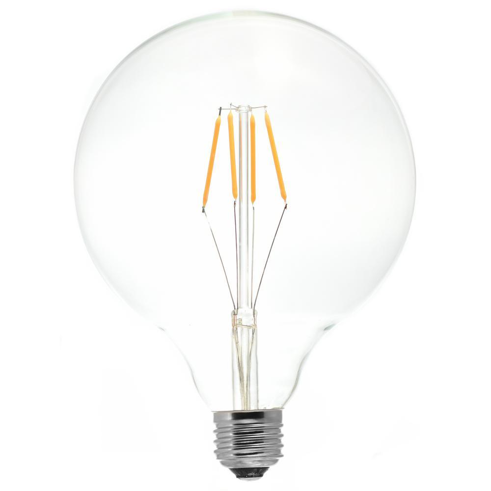 40-Watt Equivalent G40 Medium Base Dimmable Clear LED Light Bulb Antique White