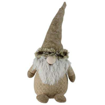 17 in. Holiday Moments Brown and White Yarn Nose Decorative Table Top Gnome