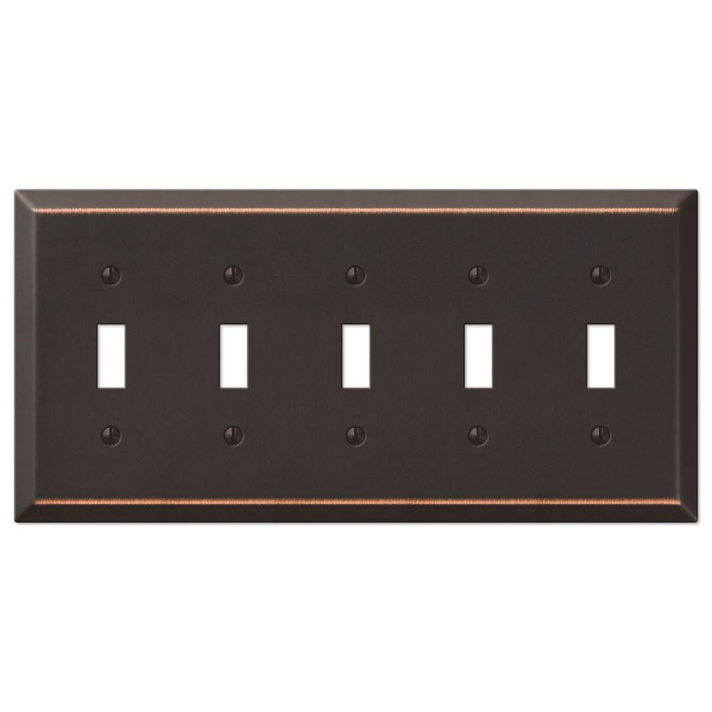 Amerelle Metallic Steel 5 Gang Toggle Wall Plate Aged Bronze