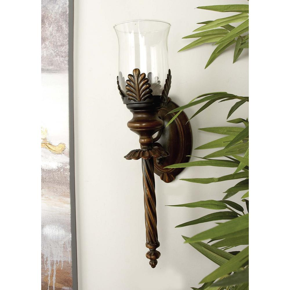 18 in. Metal and Glass Hurricane Candle Sconce
