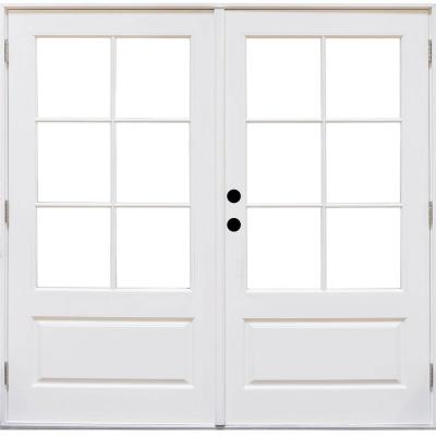 72 in. x 80 in. Fiberglass Smooth White Right-Hand Outswing Hinged 3/4-Lite Patio Door with 6-Lite SDL