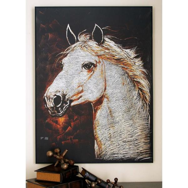 46 In X 34 In Classic White Horse Head Aluminum And Canvas Art