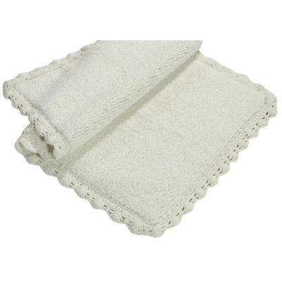 Crochet 21 in. x 34 in. and 17 in. x 24 in. 2-Piece Bath Rug Set in Ivory
