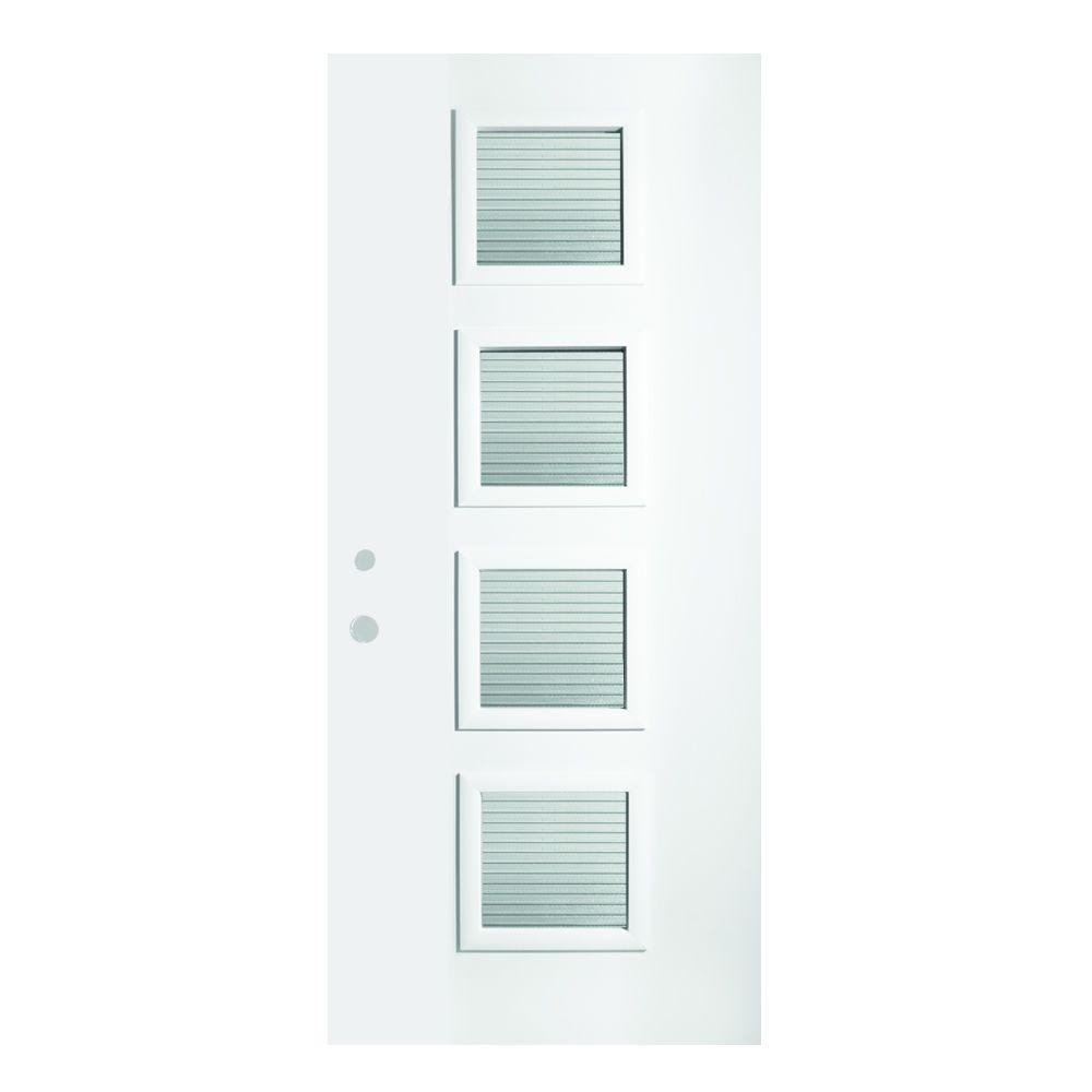 33.375 in. x 82.375 in. Evelyn Masterline 4 Lite Painted White
