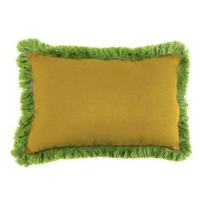 Sunbrella 9 in. x 22 in. Canvas Maize Lumbar Outdoor Pillow with Gingko Fringe
