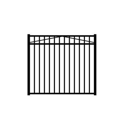 Jefferson 5 ft. W x 4.5 ft. H Black Aluminum 3-Rail Fence Gate