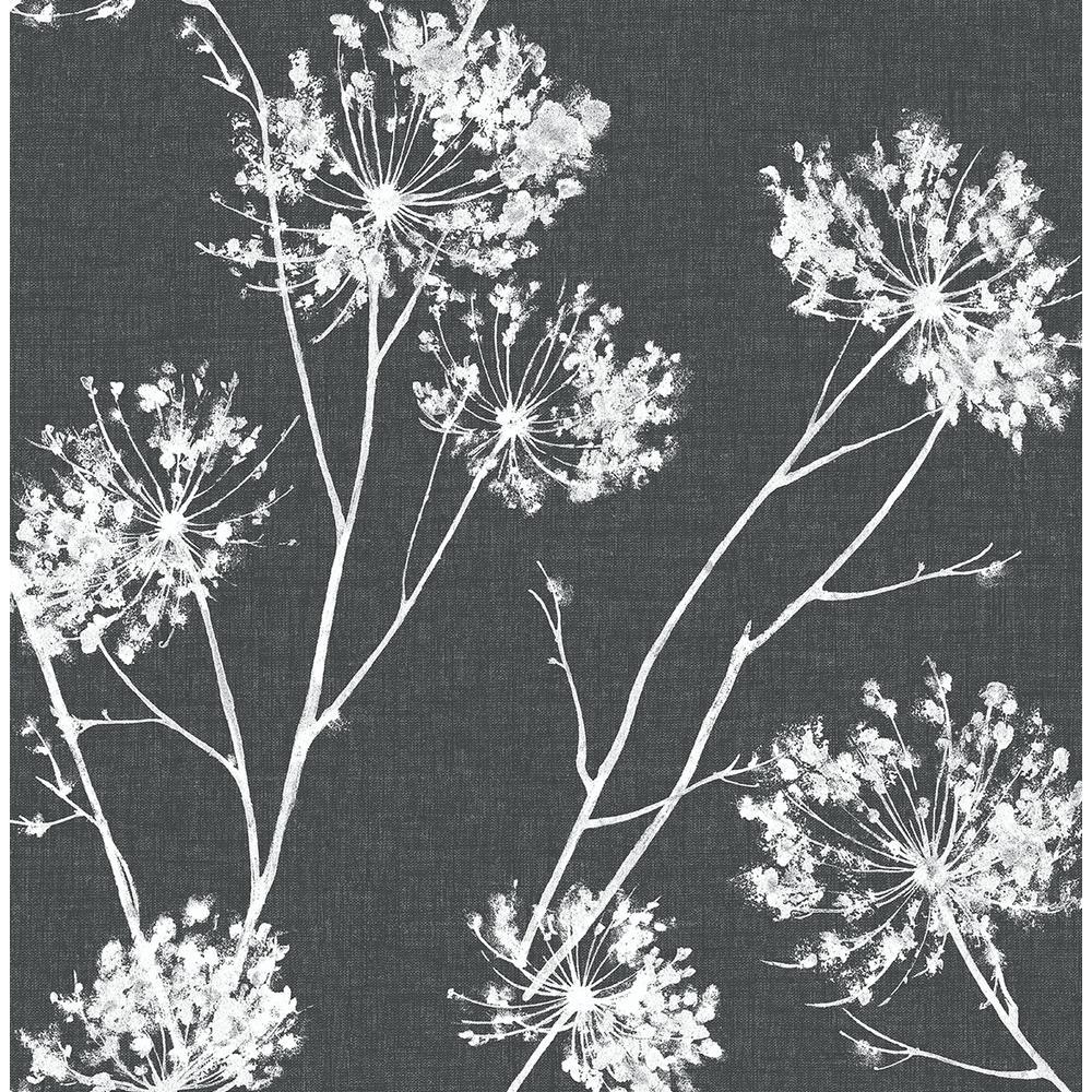 Charcoal One O'Clocks Botanical Peel and Stick Wallpaper 30.75 sq. ft.