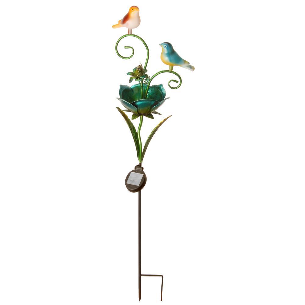 37 in. Birds on a Flower Solar Garden Stake