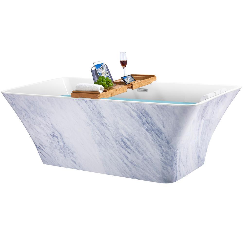 AKDY Freestanding 67 in. Acrylic Flatbottom Bathtub Modern Stand Alone Tub Luxurious SPA Tub in Marble Pattern was $1499.0 now $999.99 (33.0% off)