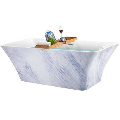 Freestanding 67 in. Acrylic Flatbottom Bathtub Modern Stand Alone Tub Luxurious SPA Tub in Marble Pattern
