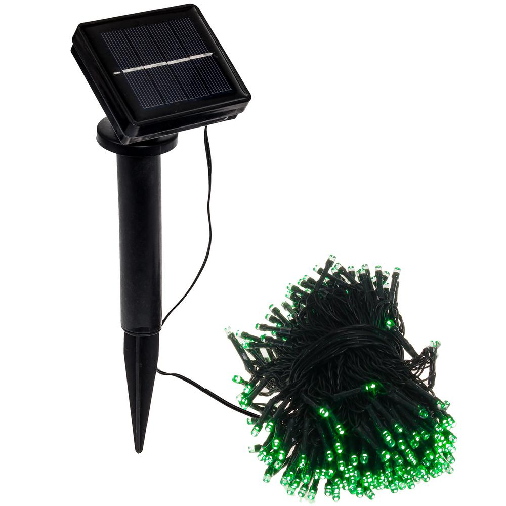 250 Light 80 ft. Solar Powered Integrated LED Green Chris...