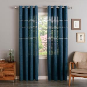 96 inch L Stitch Detailed Opaque Curtain Panels in Blue (2-Pack) by