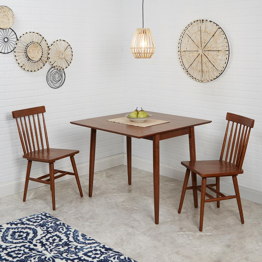 Connor 3 Piece Brown Drop Leaf Dining Table Set